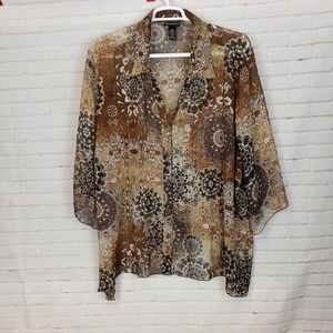 Maggie Barnes sheer button brown & gold blouse 4X